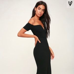 Lulu's Black Off-the-Shoulder Maxi Dress